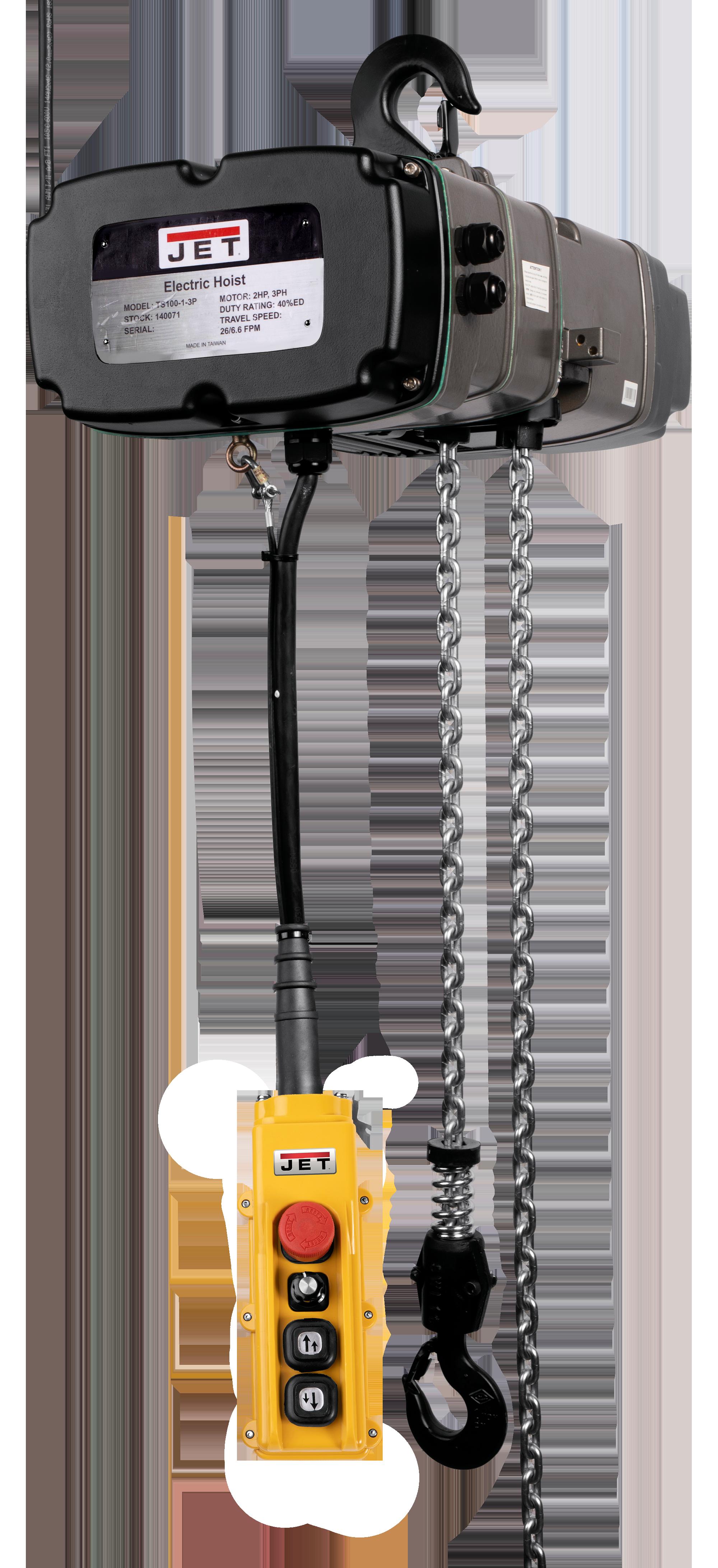 TS200-230-015, 2-Ton Two Speed Electric Chain Hoist  3-Phase 15'Llift