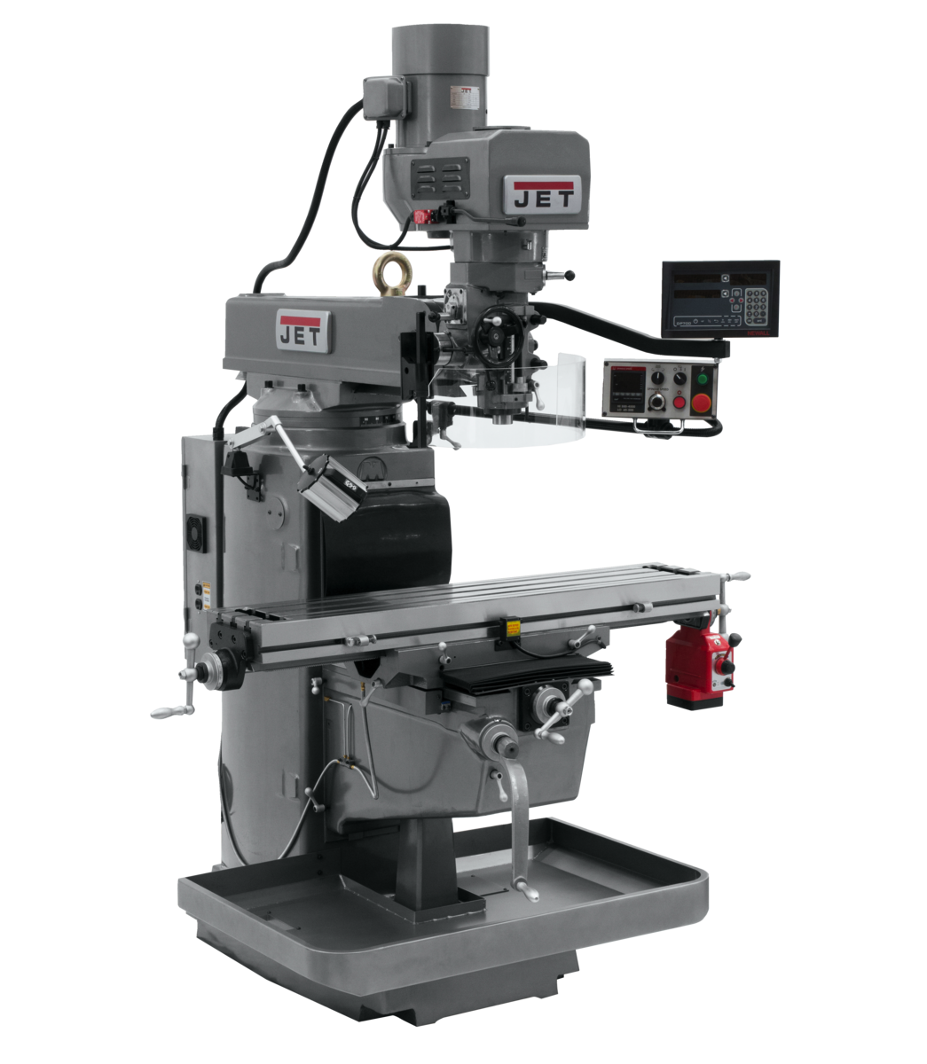 JTM-1050EVS2/230 Mill With 3-Axis Newall DP700 DRO (Knee) With X-Axis Powerfeed