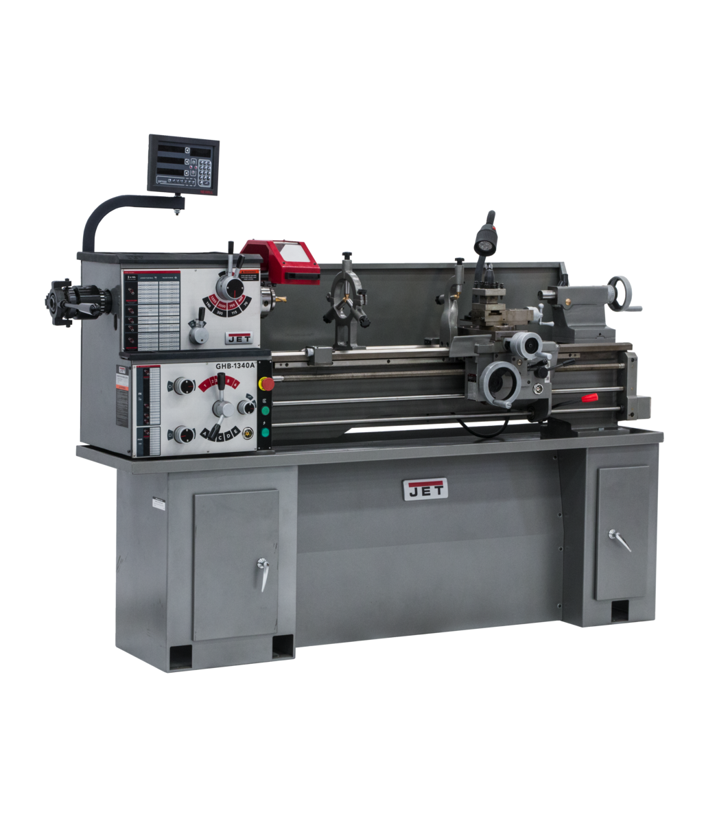 GHB-1340A Lathe With Newall NMS300 DRO With Taper Attachment and Collet Closer