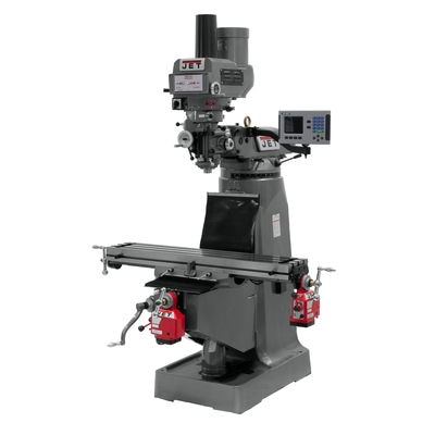 JTM-4VS Mill With 3-Axis ACU-RITE 203 DRO (Quill) With X and Y-Axis Powerfeeds and Power Draw Bar
