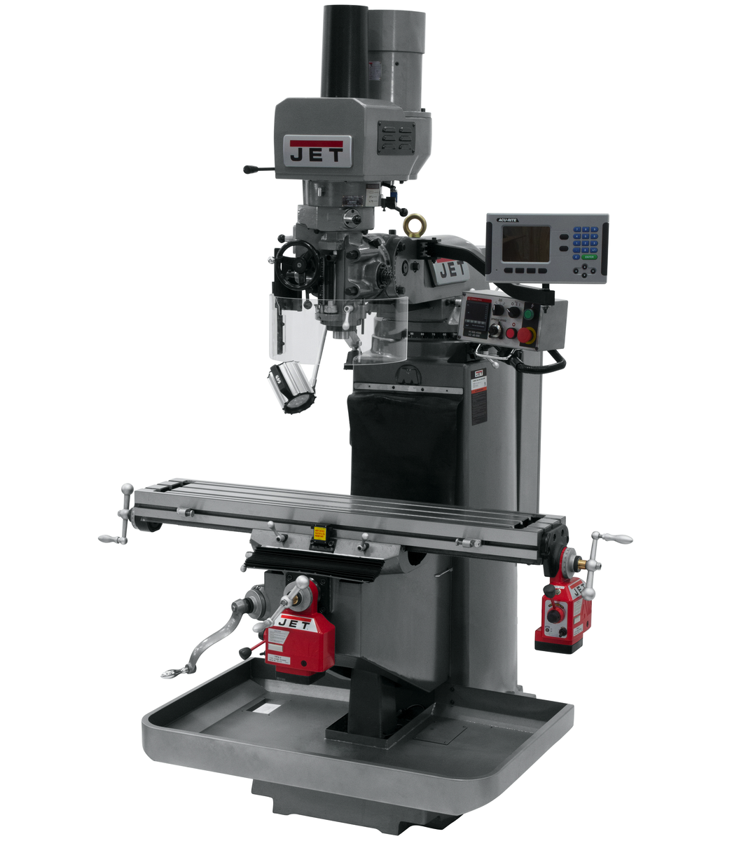 JTM-949EVS Mill With 3-Axis Acu-Rite 203 DRO (Quill) With X and Y-Axis Powerfeeds and Air Powered Draw Bar