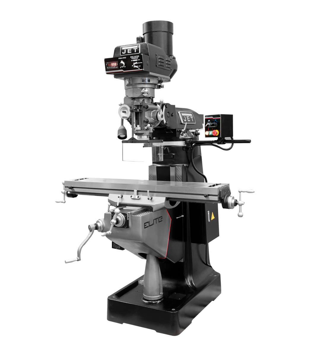 EVS-949 Mill with 2-Axis Newall DP700 DRO and X, Y-Axis JET Powerfeeds and USA Made Air Draw Bar