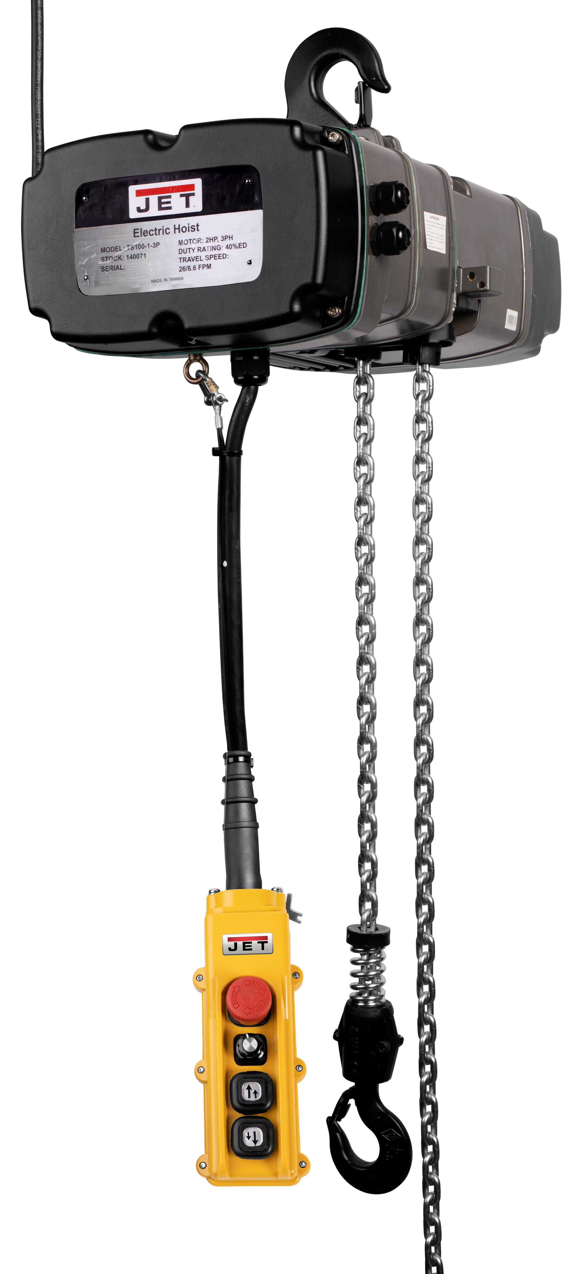 TS100-230-020,1-Ton Two Speed Electric Chain Hoist  3-Phase 20' Lift