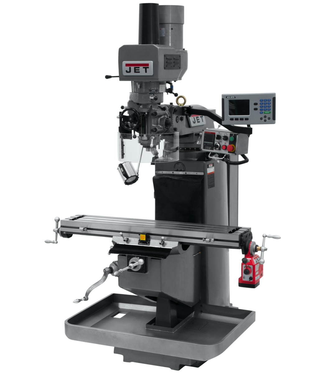 JTM-949EVS Mill With 3-Axis Acu-Rite 203 DRO (Quill) With X-Axis Powerfeed and Air Powered Draw Bar