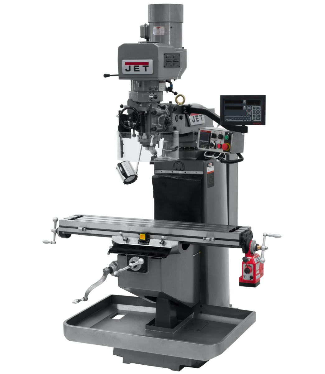 JTM-949EVS Mill With 3-Axis Newall DP700 DRO (Knee) With X-Axis Powerfeed