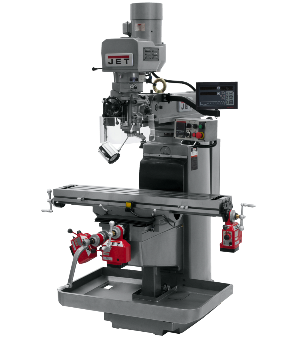 JTM-1050EVS2/230 Mill With 3-Axis Newall DP700 DRO (Knee) With X, Y and Z-Axis Powerfeeds