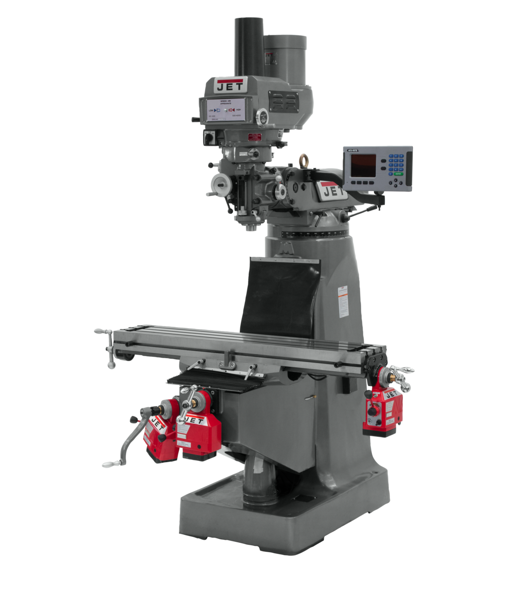 JTM-4VS Mill With 3-Axis ACU-RITE 203 DRO (Knee) With X, Y and Z-Axis Powerfeeds and Power Draw Bar