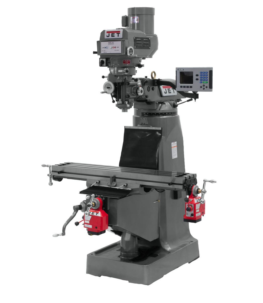 JTM-4VS-1 Mill With 3-Axis ACU-RITE 203 DRO (Quill) With X and Y-Axis Powerfeeds