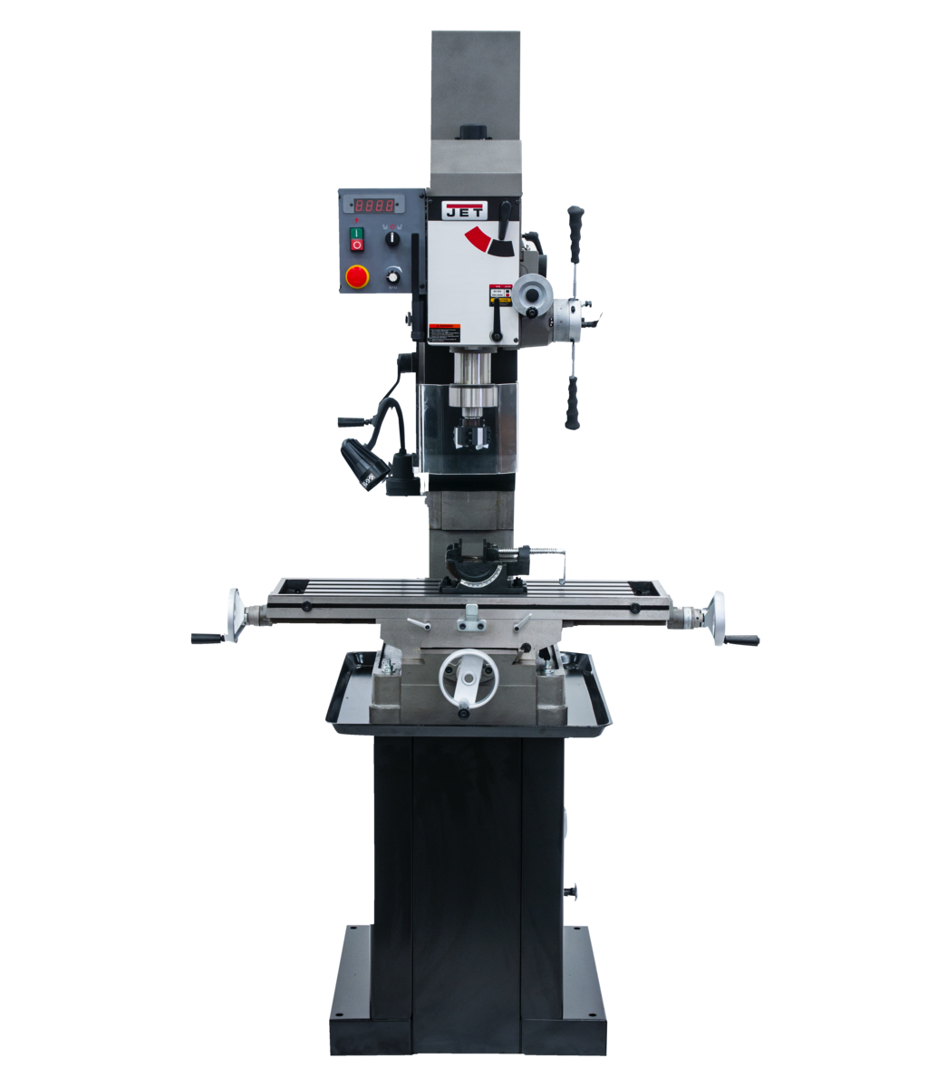 JMD-45VSPF Variable Speed Square Column Geared Head Mill/Drill with Newall DP700 2-Axis DRO & X-Axis