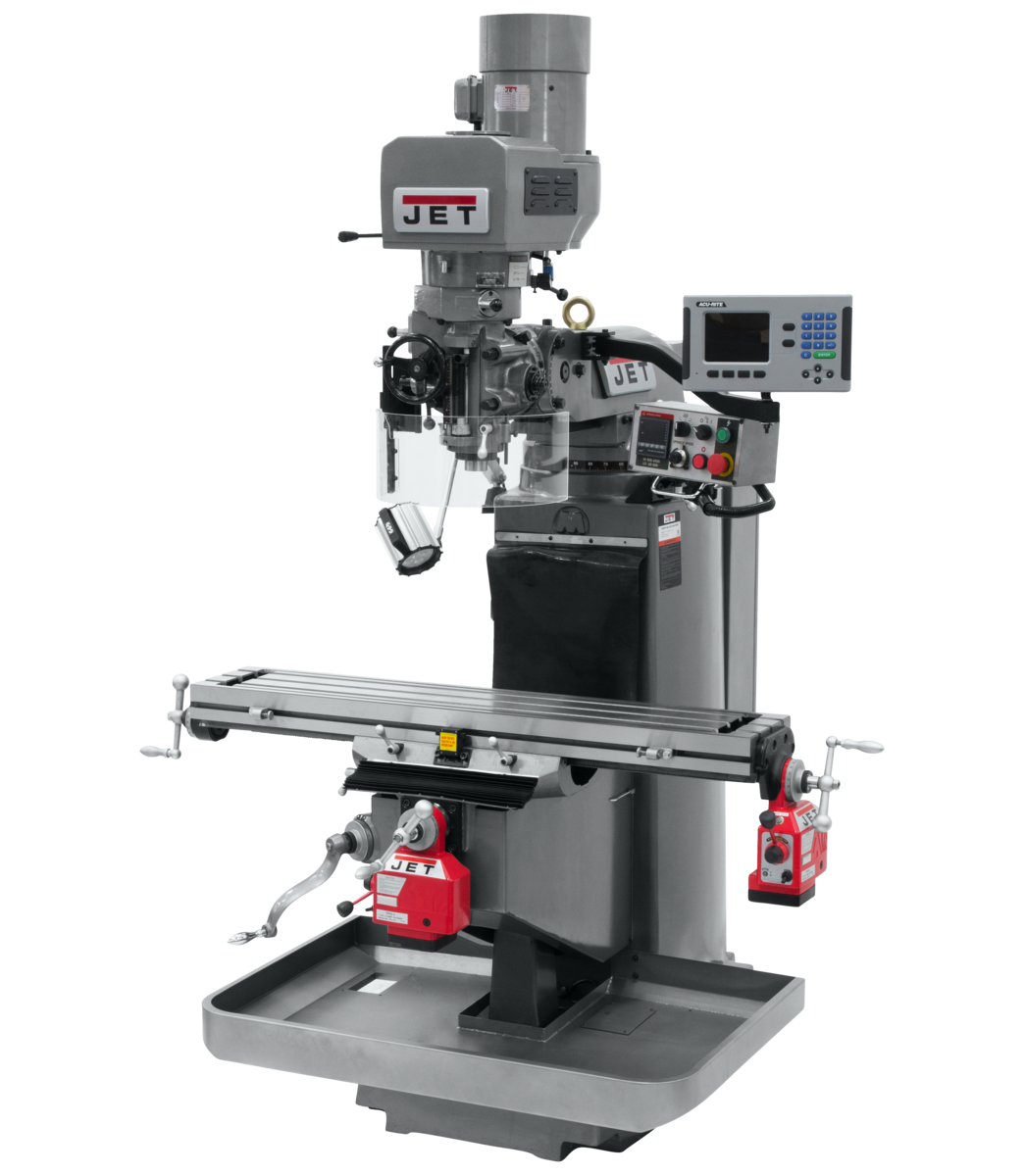 JTM-949EVS Mill With 3-Axis Acu-Rite 203 DRO (Knee) With X and Y-Axis Powerfeeds