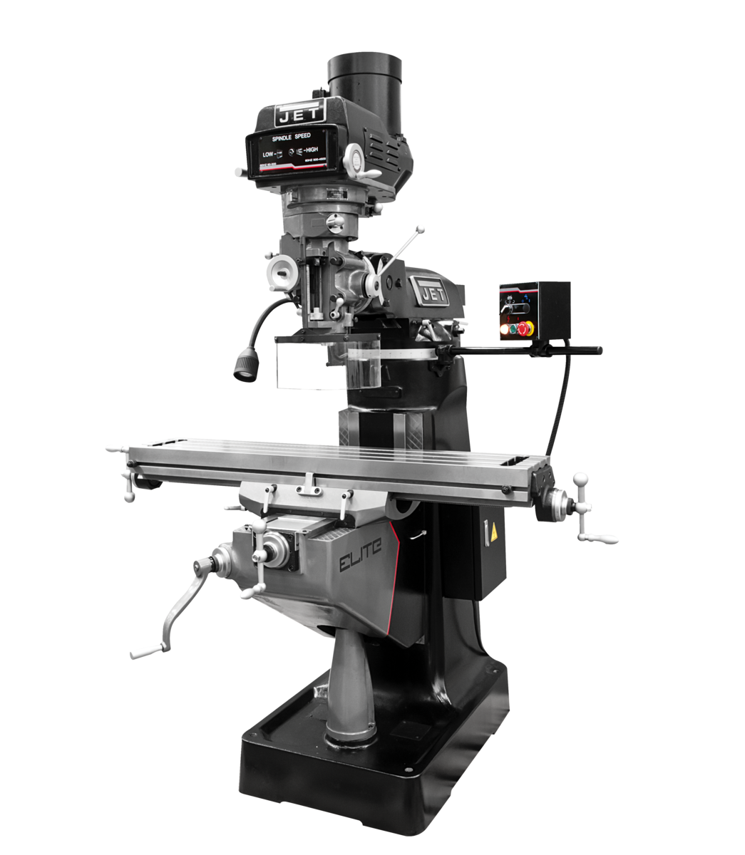 ETM-949 mill with 2-Axis ACU-RITE 203 DRO and X, Y-Axis JET Powerfeeds and USA Made Air Draw Bar