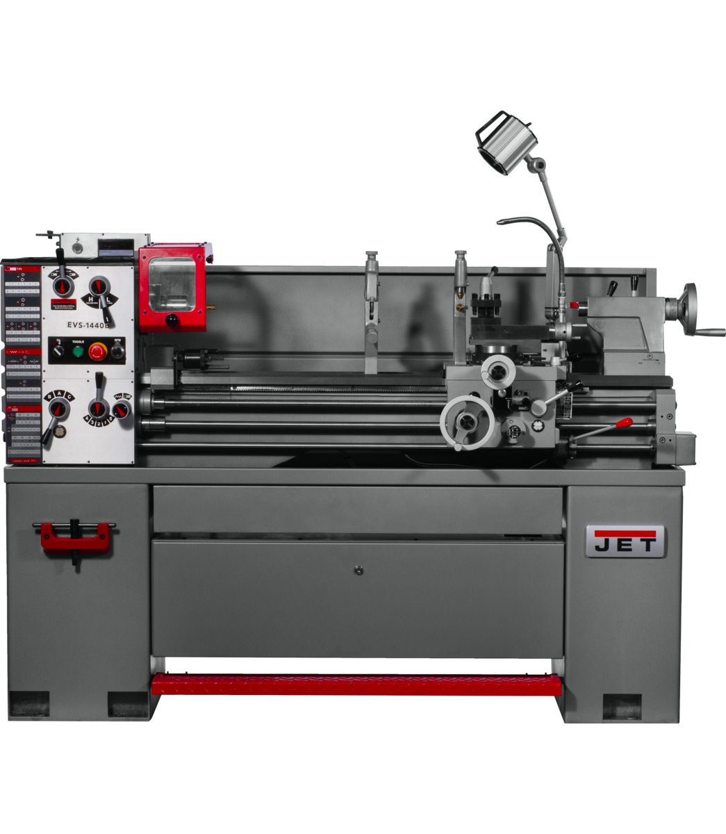 EVS-1440 Electronic Variable Speed lathe with Newall DP700 DRO and Taper Attachment, 3HP