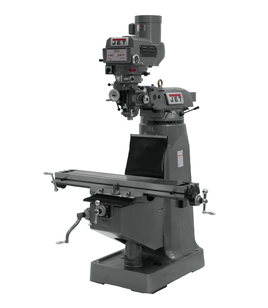 JTM-4VS-1 Mill With 3-Axis ACU-RITE 203 DRO (Knee) With X-Axis Powerfeeds