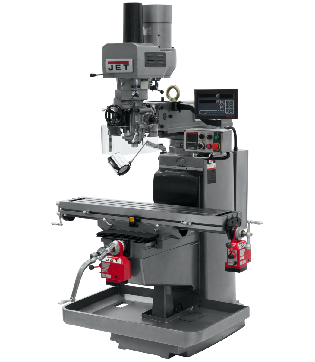 JTM-1050EVS2/230 Mill With 3-Axis Newall DP700 DRO (Quill) With X and Y-Axis Powerfeeds and Air Powered Draw Bar
