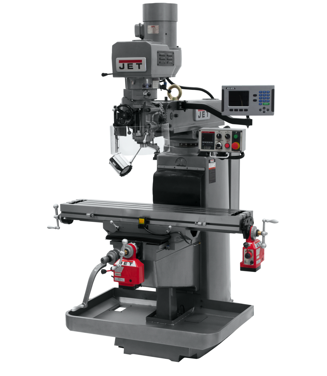JTM-1050EVS2/230 Mill With 3-Axis Acu-Rite 203 DRO (Quill) With X and Y-Axis Powerfeeds