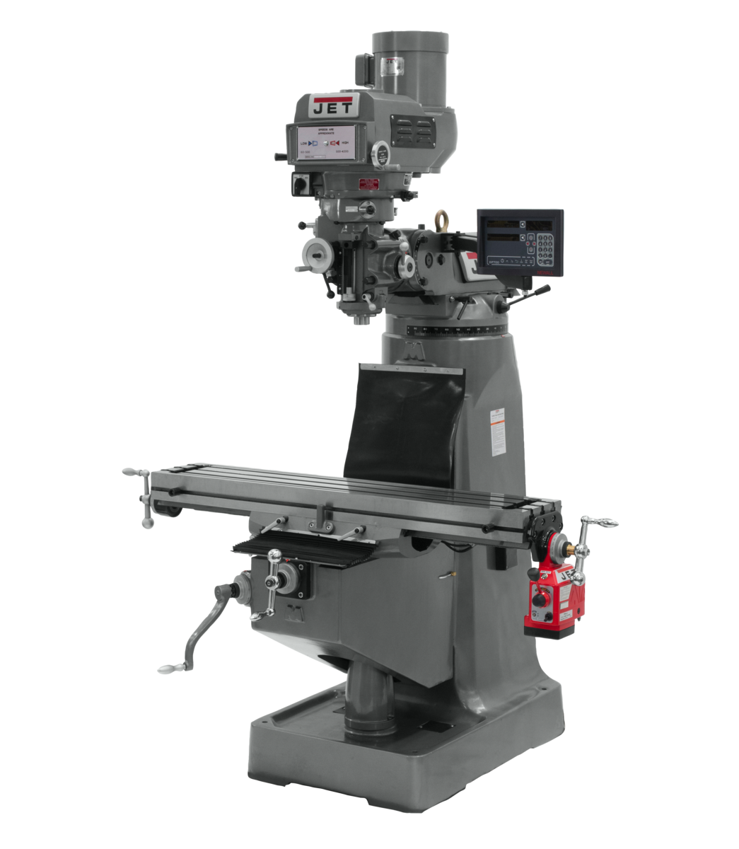 JTM-4VS Mill With 3-Axis Newall DP700 DRO (Knee) With X-Axis Powerfeed