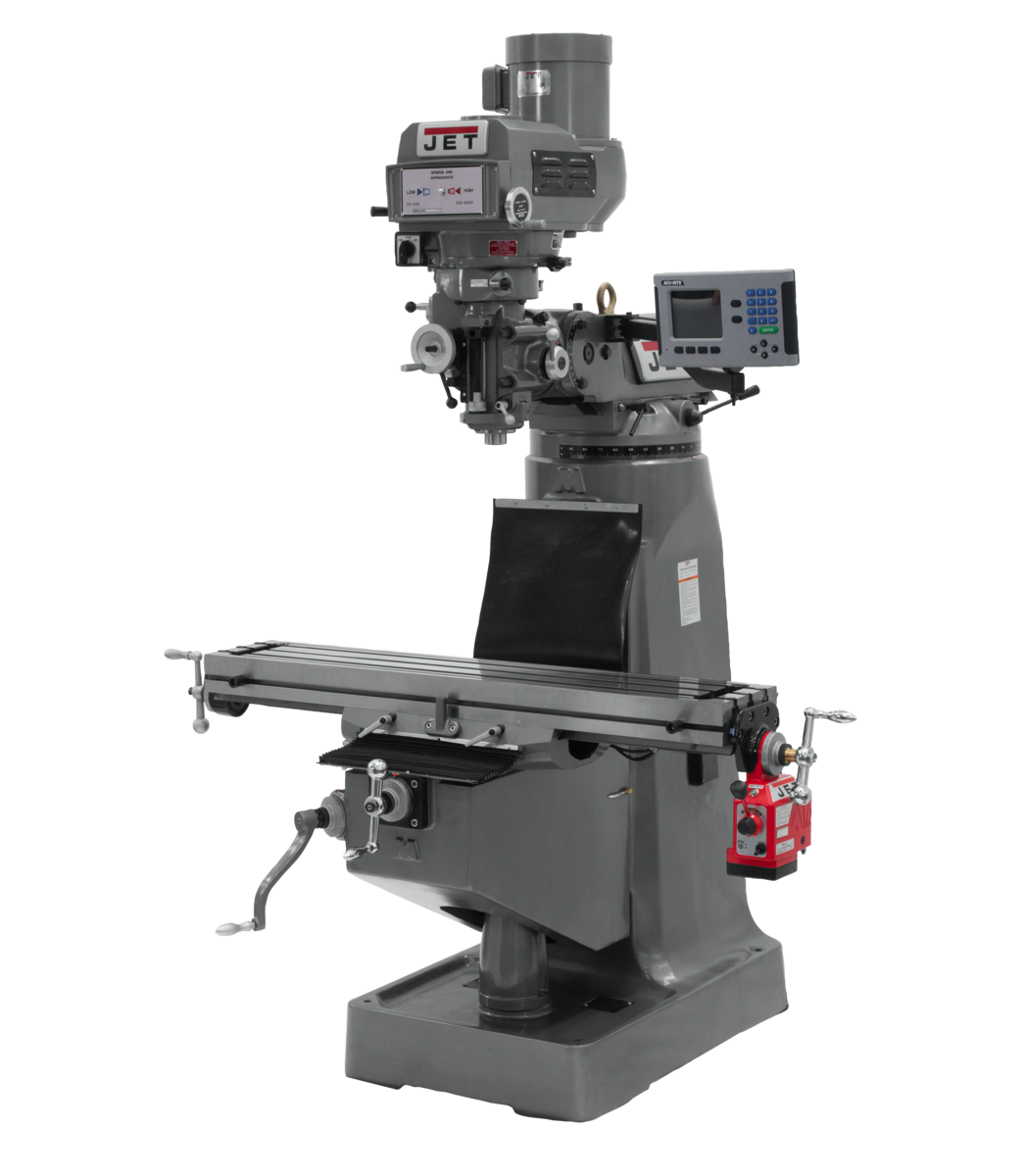 JTM-4VS Mill With 3-Axis ACU-RITE 203 DRO (Knee) With X-Axis Powerfeed