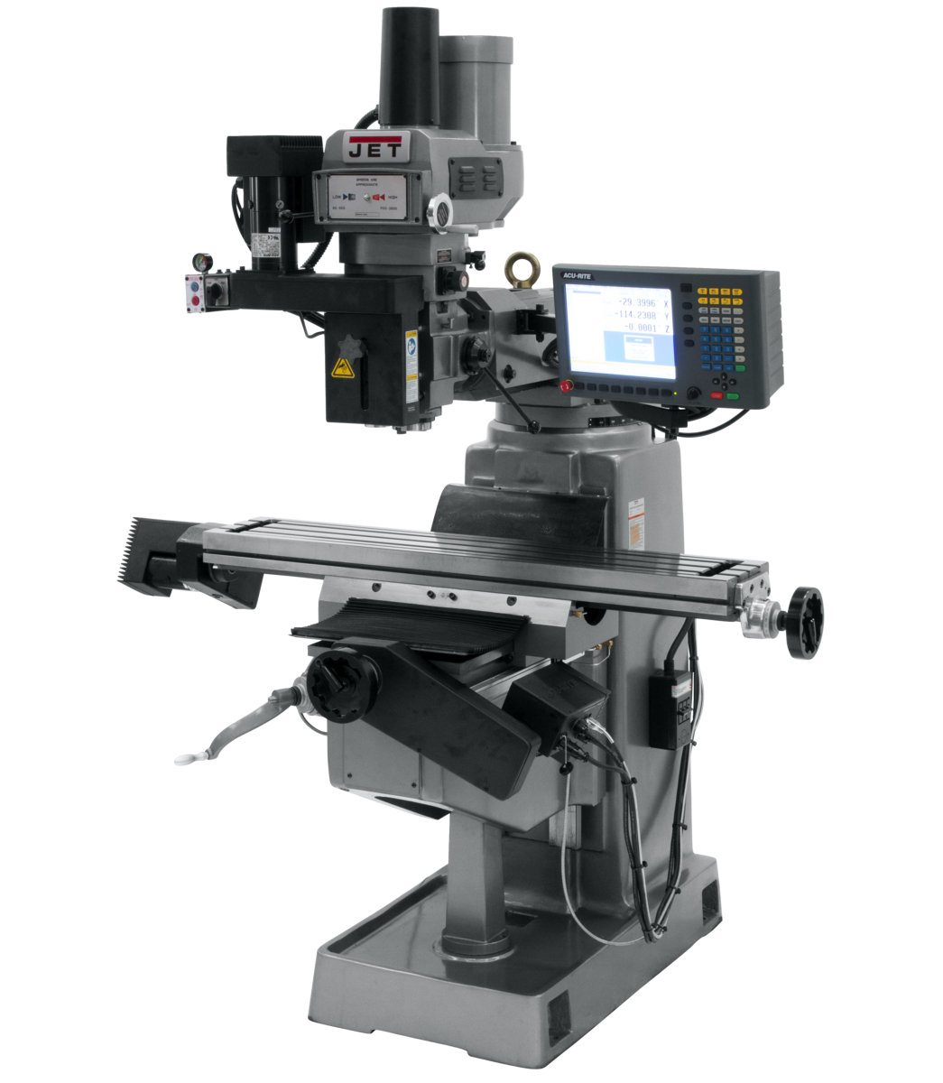 JTM-1050EVS2/230 Mill With 3-Axis Acu-Rite MilPwr G2 CNC Controller with Air Powered Drawbar