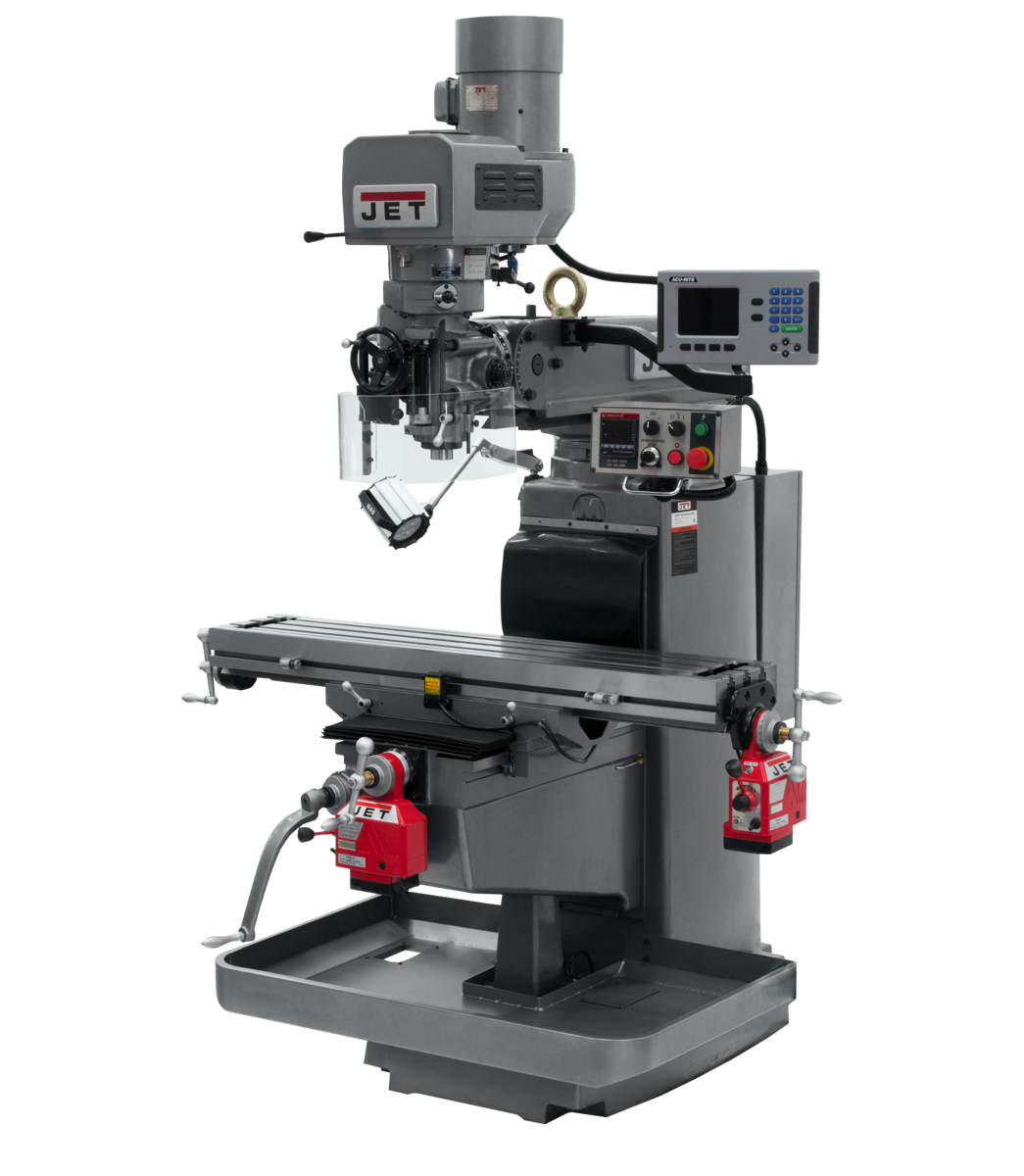 JTM-1050EVS2/230 Mill With 3-Axis Acu-Rite 203 DRO (Knee) With X and Y-Axis Powerfeeds