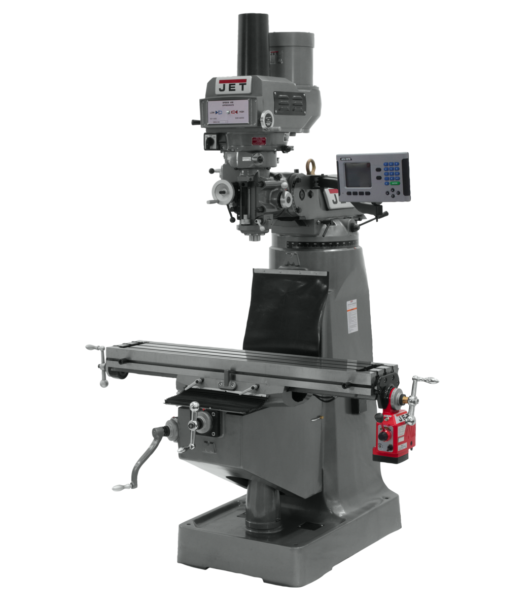 JTM-4VS Mill With 3-Axis ACU-RITE 203 DRO (Quill) With X-Axis Powerfeed and Power Draw Bar