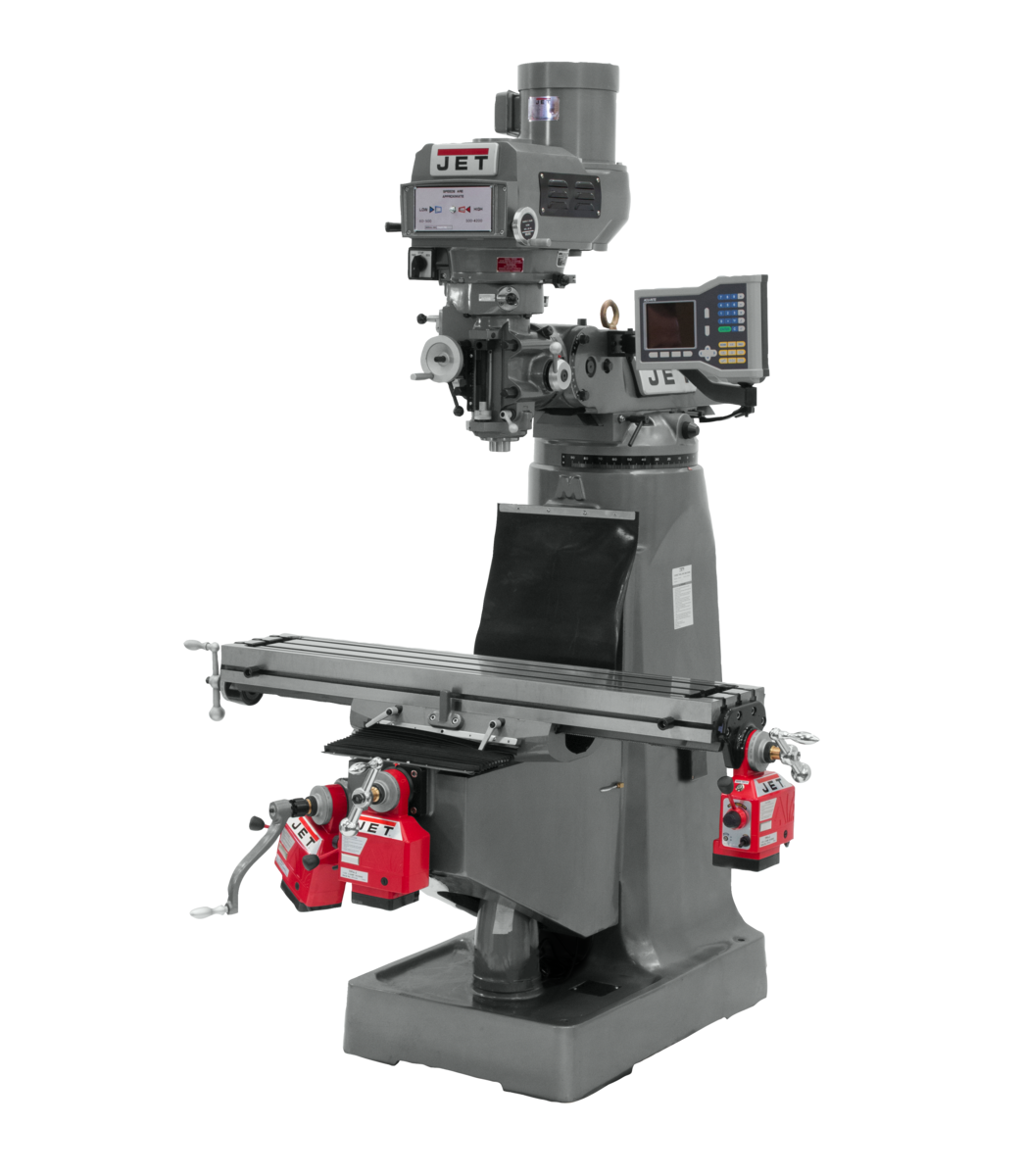JTM-4VS-1 Mill With 3-Axis ACU-RITE 203 DRO (Knee) With X, Y and Z-Axis Powerfeeds