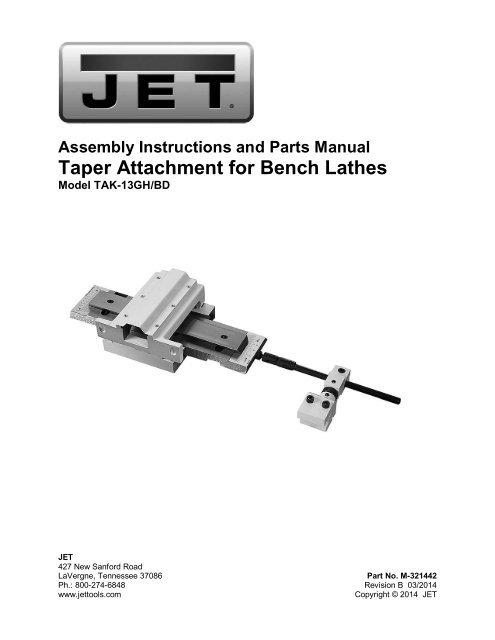 JET — 13GH/BD Taper Attachment for 13 x 40 A Lathes