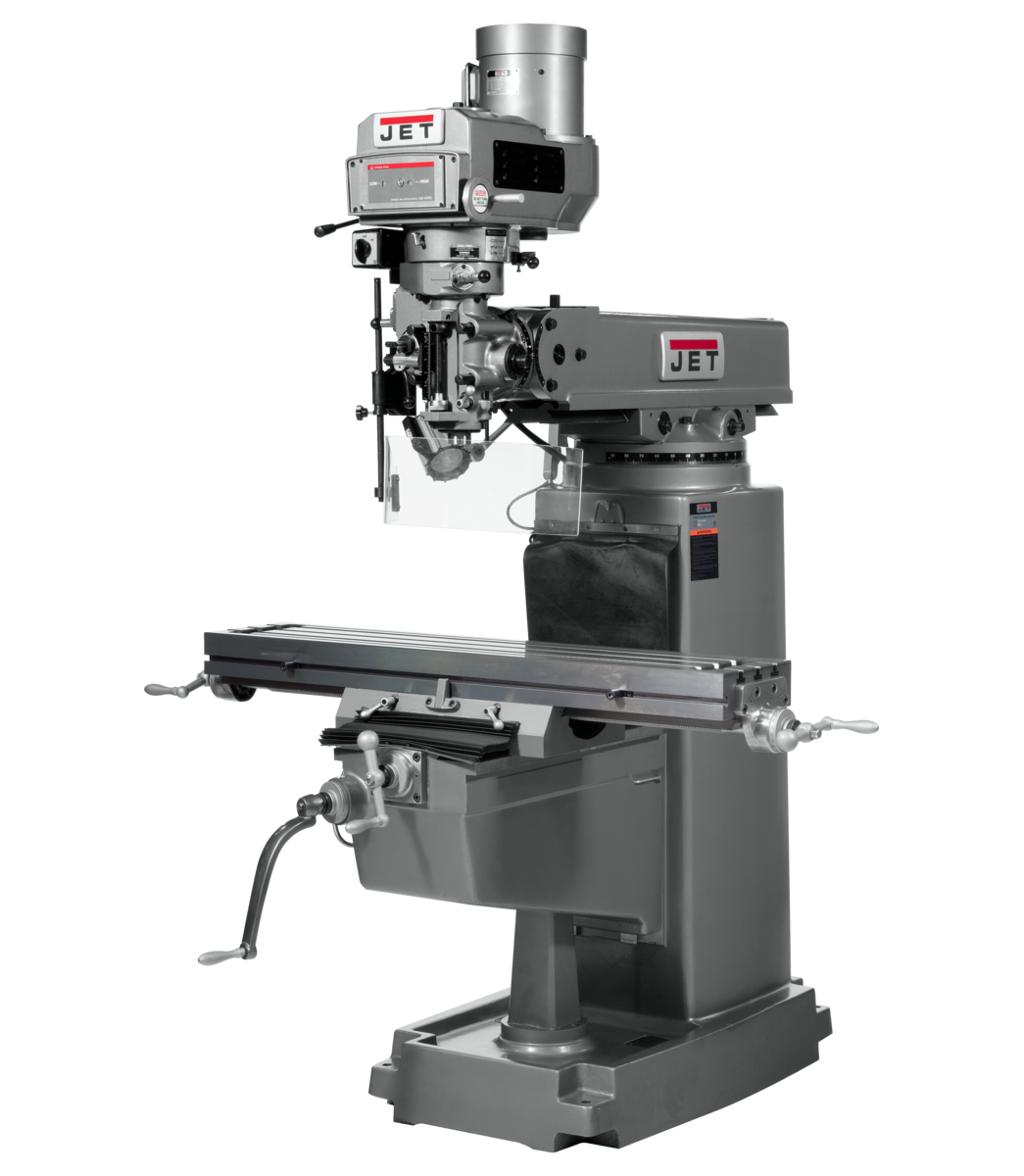 JTM-1050VS2 Mill With 3-Axis ACU-RITE 203 DRO (Quill) With X and Y-Axis Powerfeeds and Power Draw Ba
