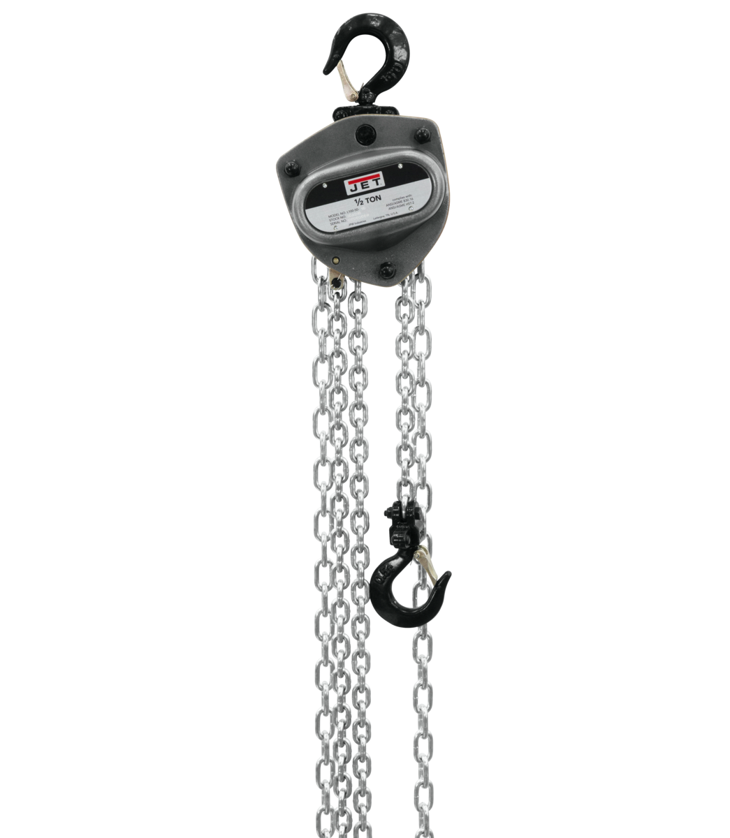 L-100-50WO-10, 1/2-Ton Hand Chain Hoist With 10' Lift & Overload Protection
