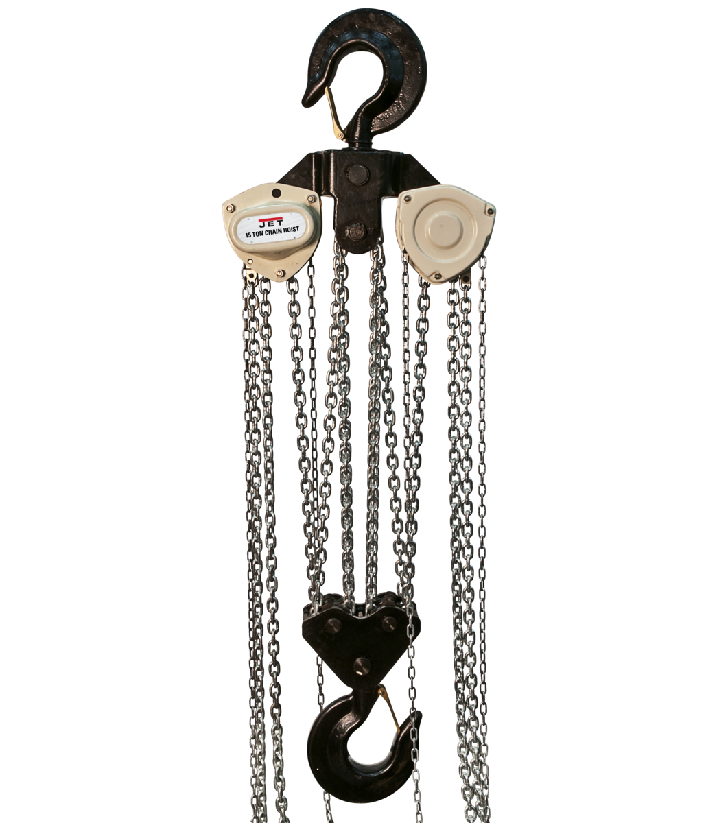L-100 1500WO-20, 15-Ton Hand Chain Hoist With 20' Lift & Overload Protection