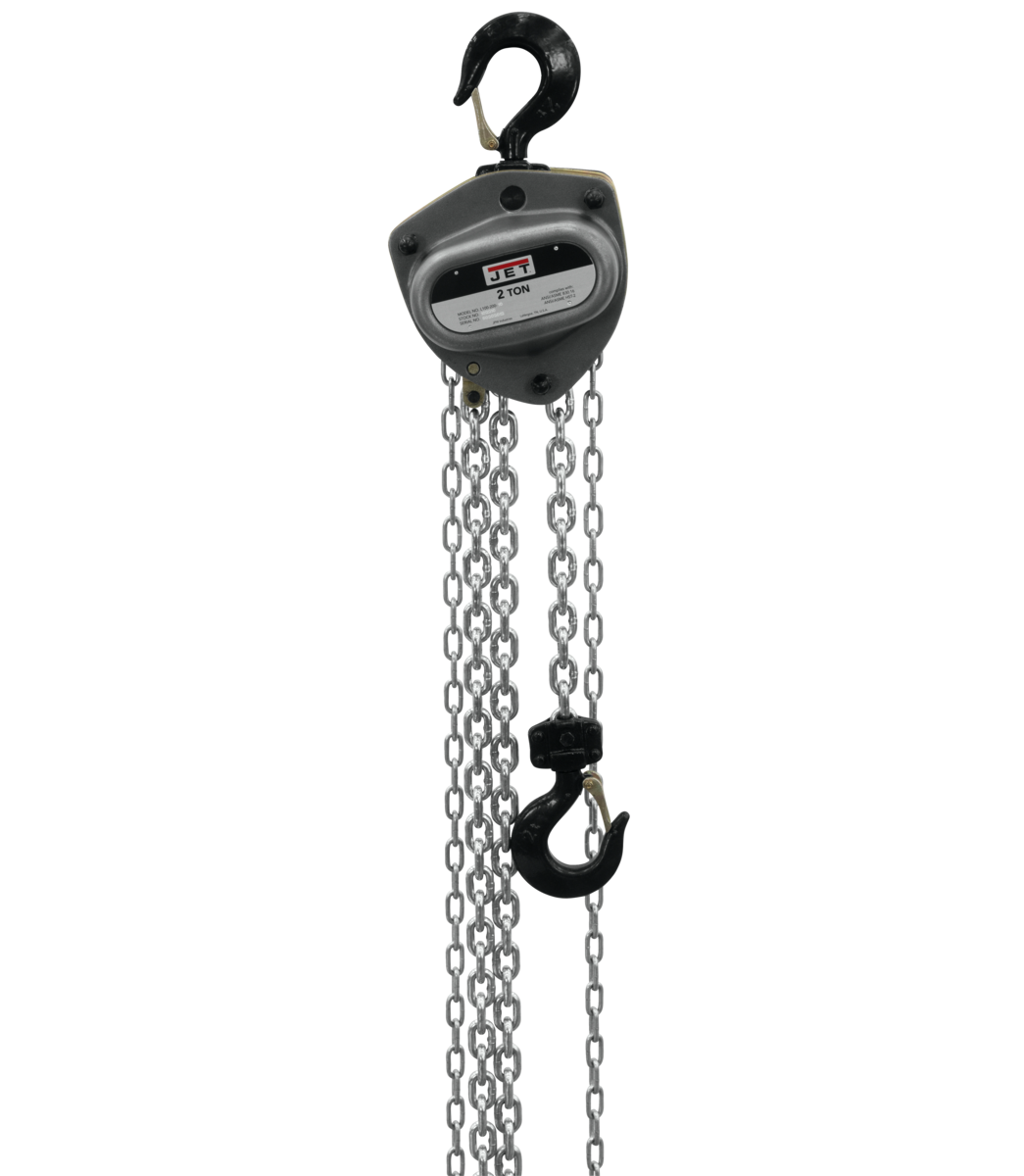 L-100-200WO-15, 2-Ton Hand Chain Hoist With 15' Lift & Overload Protection