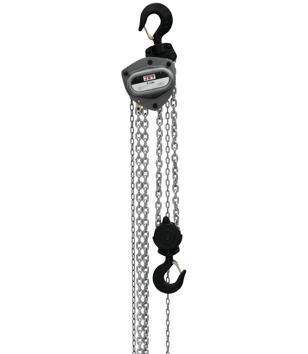 L-100-500WO-20, 5-Ton Hand Chain Hoist With 20' Lift & Overload Protection