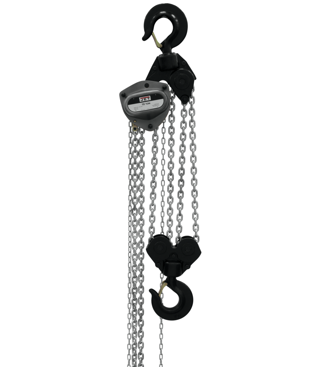 L-100-1000WO-15, 10-Ton Hand Chain Hoist With 15' Lift & Overload Protection