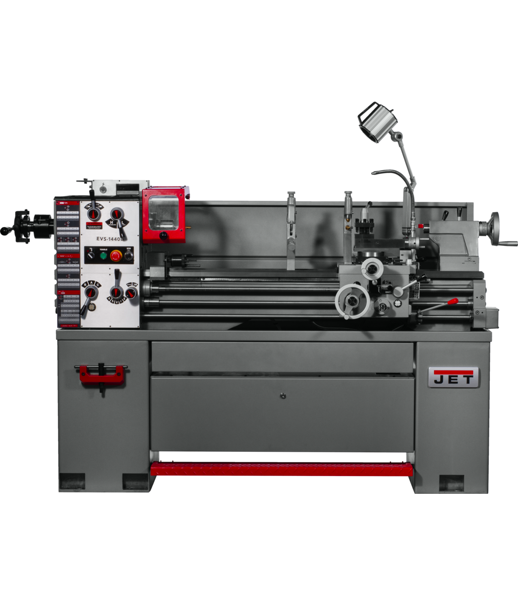 EVS-1440 Electronic Variable Speed lathe with  Newall DP700 DRO and Collet Closer, 3HP