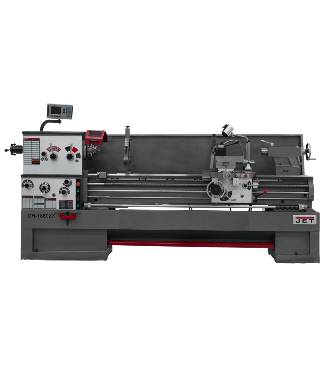 GH-1880ZX torno con visualizador de posición digital ACU-RITE 200S de 2 ejes, cierre automático y accesorio de ahusamiento instalado