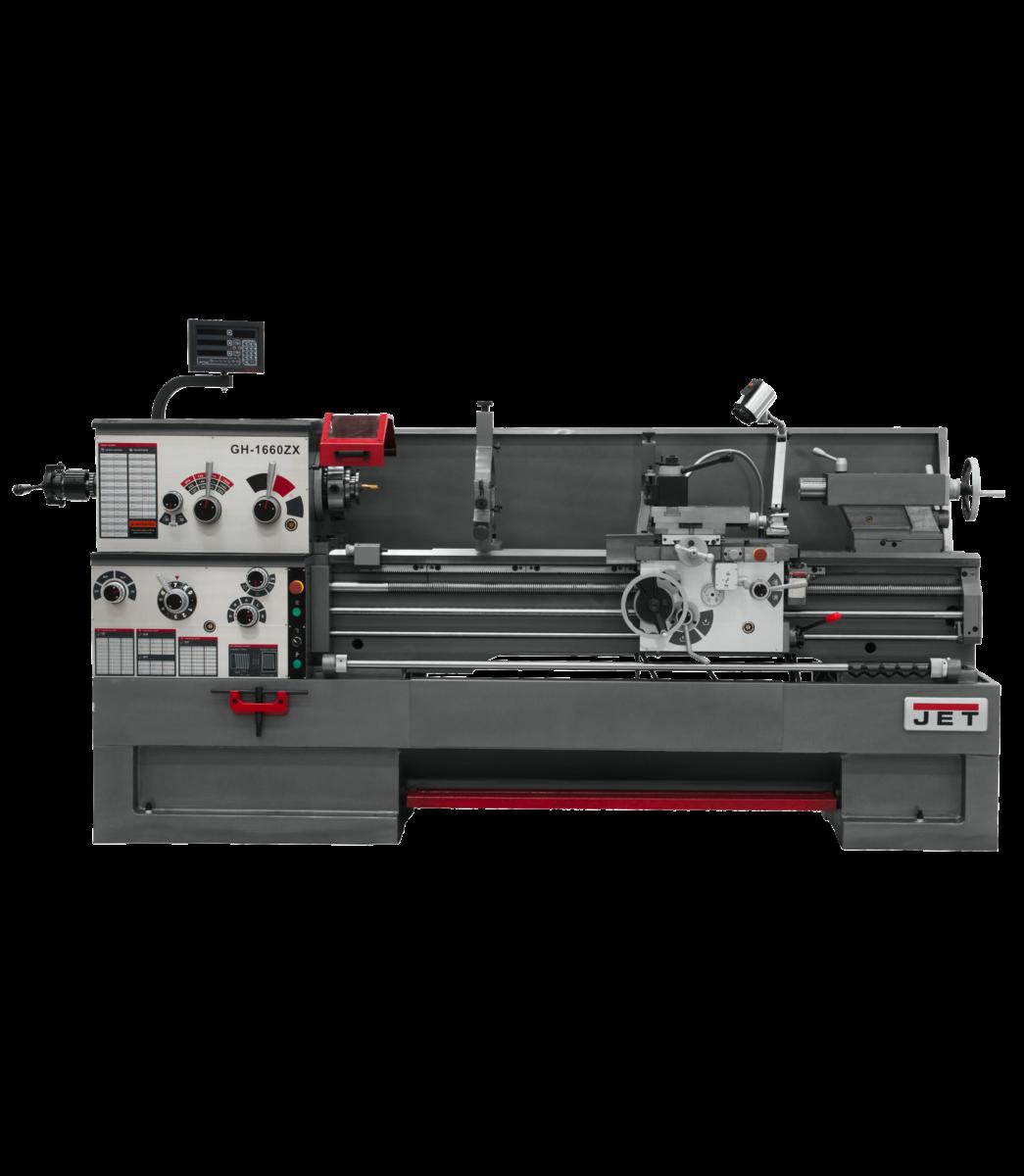 GH-1660ZX torno con ACU-RITE 200S de 2 ejes, accesorio de ahusamiento y cierre automático instalado