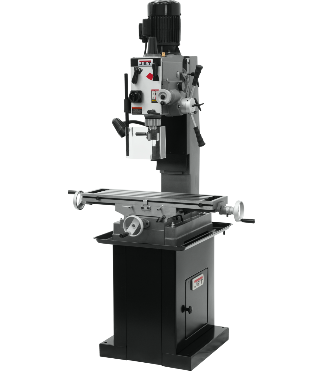 JMD-45GHPF Geared Head Square Column Mill/Drill with Power Downfeed with DP500 2-Axis DRO & X-Axis Powerfeed