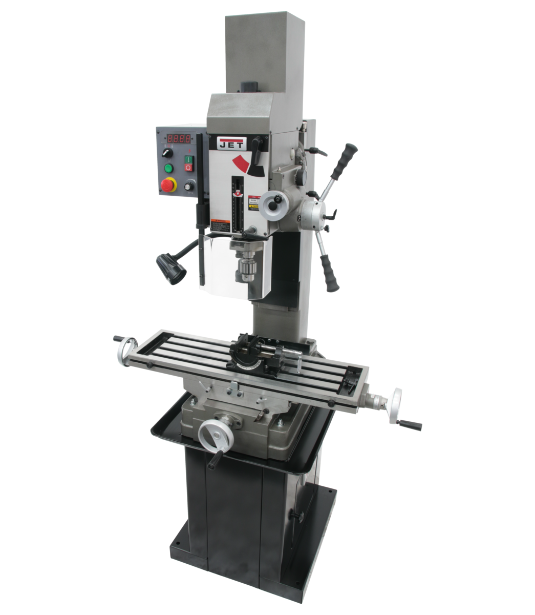 JMD-45VSPFT Variable Speed Geared Head Square Column Mill/Drill with Power Downfeed & Newall DP500 2-Axis DRO & X-Axis Powerfeed