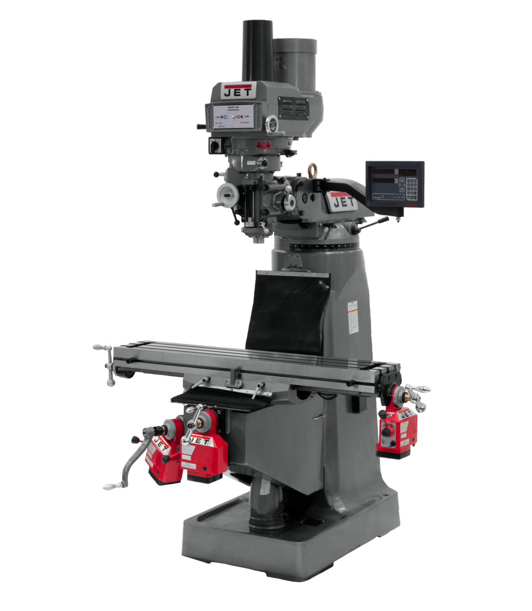 JTM-4VS Mill With 3-Axis Newall DP700 DRO (Knee) With X, Y and Z-Axis Powerfeeds and Power Draw Bar
