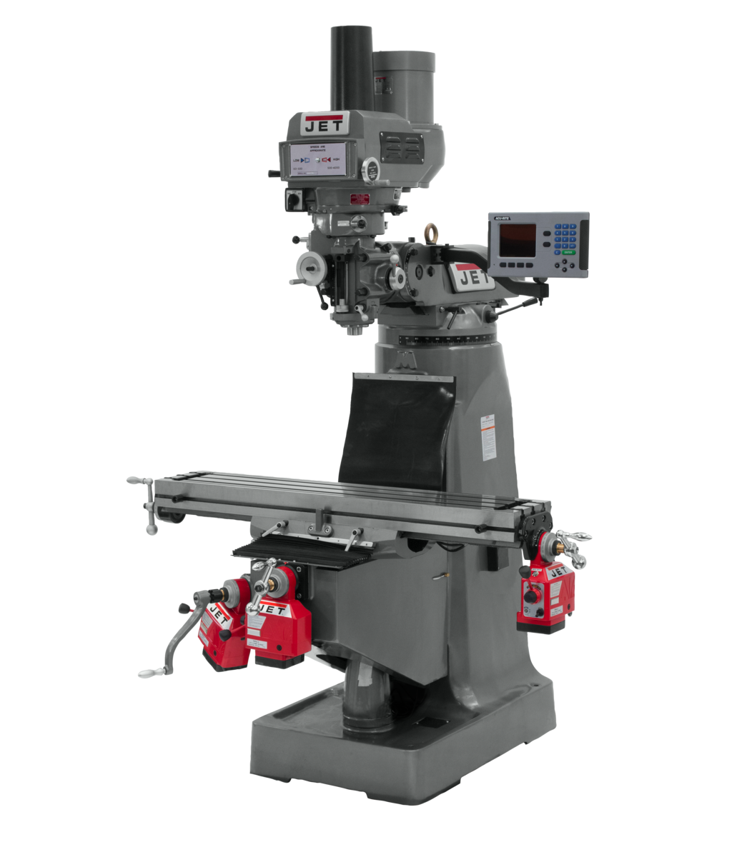 JTM-4VS Mill With 3-Axis ACU-RITE 203 DRO (Quill), X, Y and Z-Axis Powerfeeds With Power Drawbar