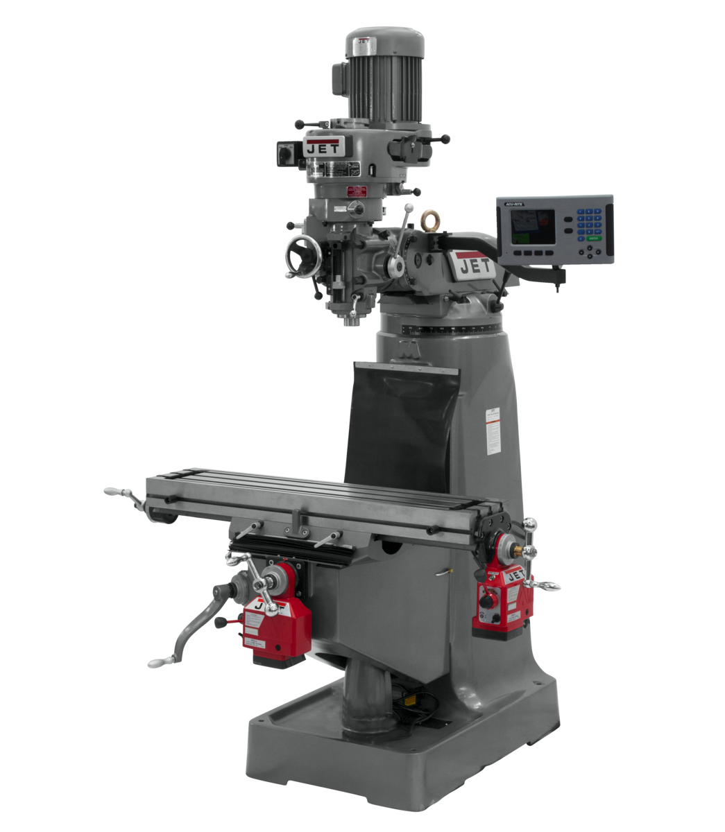 JTM-2 Mill With 3-Axis ACU-RITE 203 DRO (Quill) With X and Y-Axis Powerfeeds