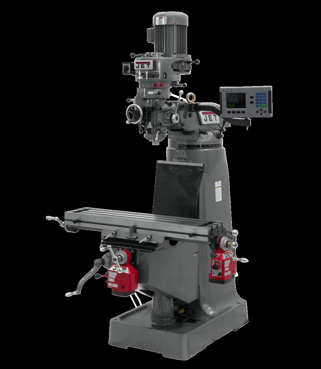 Fresadora JVM-1 con visualizador de posición digital ACU-RITE 200S, alimentación automática eje X y alimentación automática eje Y instalados