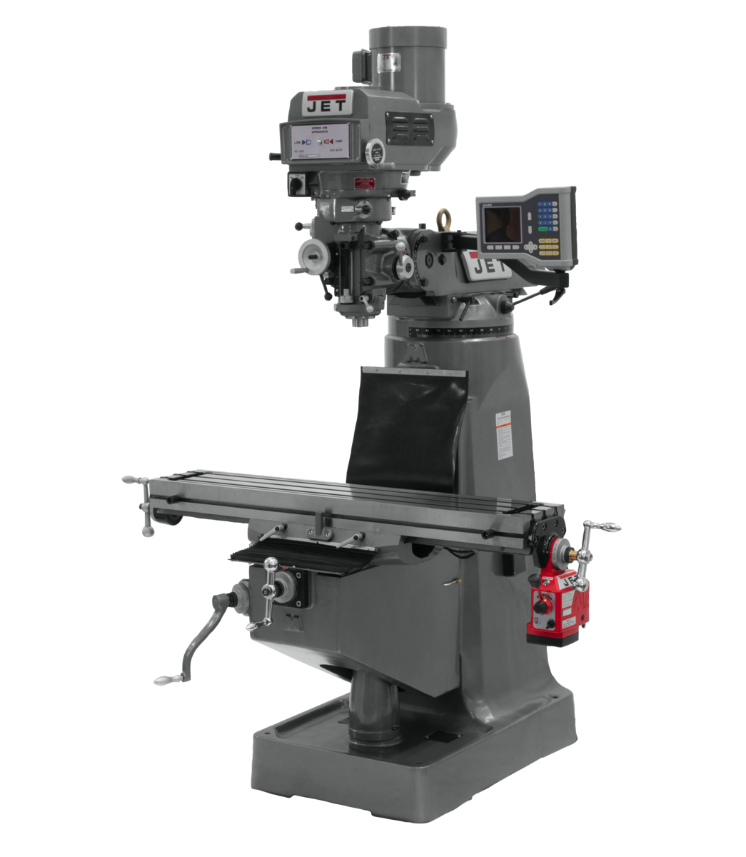 """JTM-4VS Mill With ACU-RITE 203 DRO With X-Axis Powerfeed and 6"""" Riser Block"""