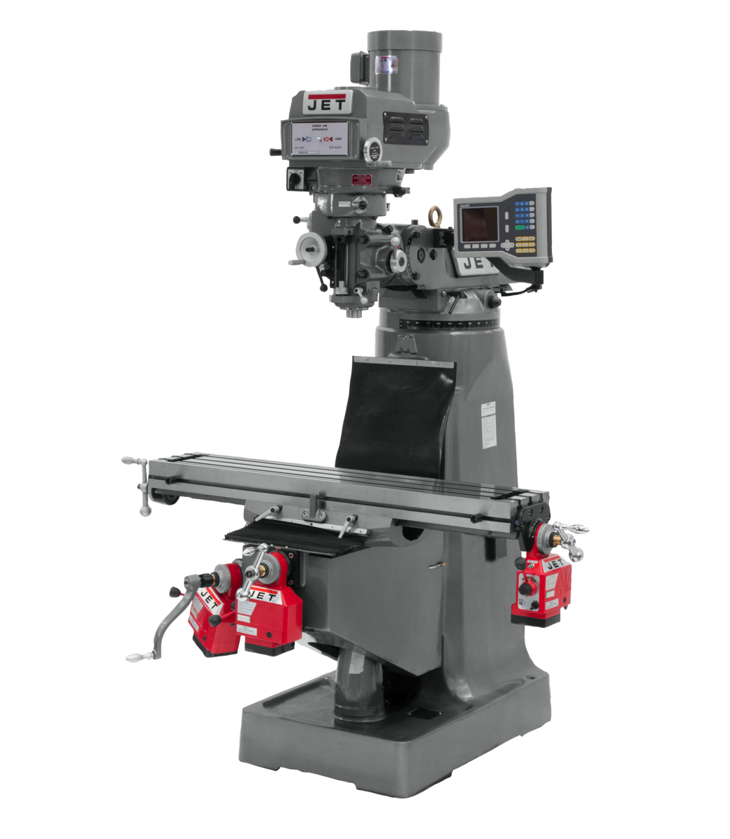 JTM-4VS Mill With 3-Axis ACU-RITE 203 DRO (Knee) With X, Y and Z-Axis Powerfeeds