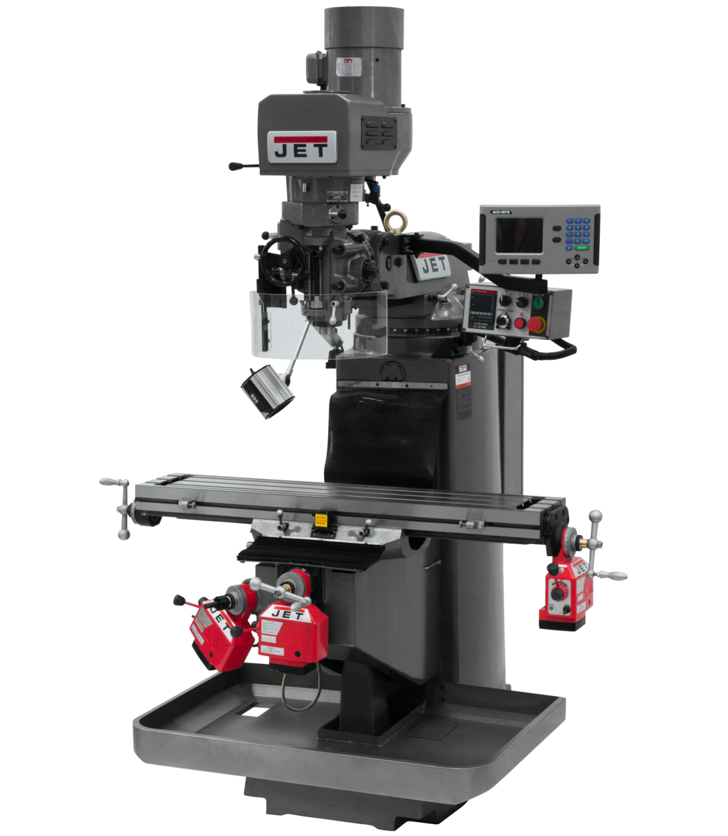 JTM-949EVS Mill With 3-Axis Acu-Rite 203 DRO (Knee) With X, Y and Z-Axis Powerfeeds