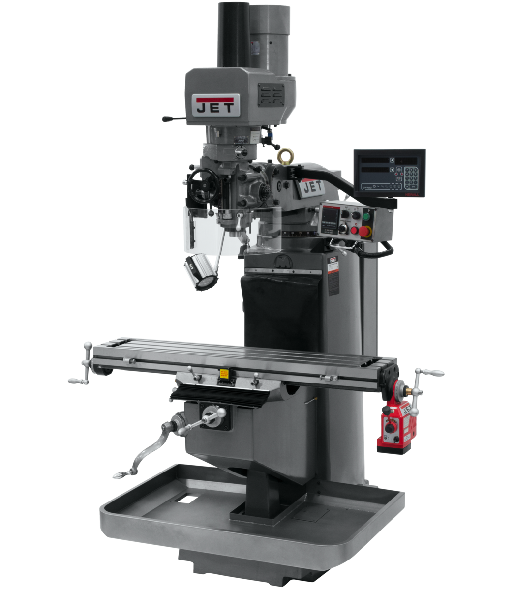 JTM-949EVS Mill With 3-Axis Newall DP700 DRO (Knee) With X-Axis Powerfeed and Air Powered Draw Bar