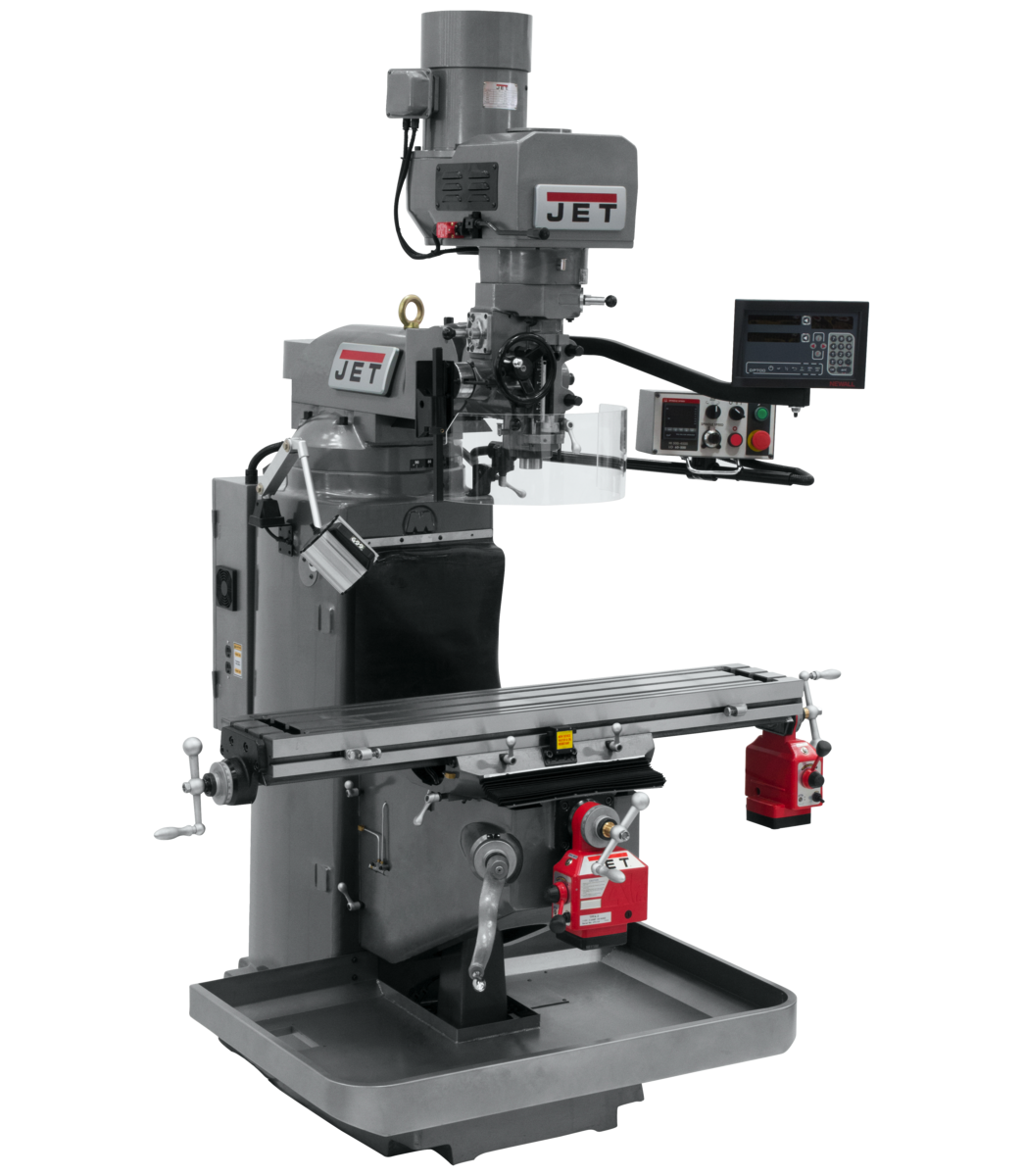 JTM-949EVS Mill With 3-Axis Newall DP700 DRO (Knee) With X and Y-Axis Powerfeeds
