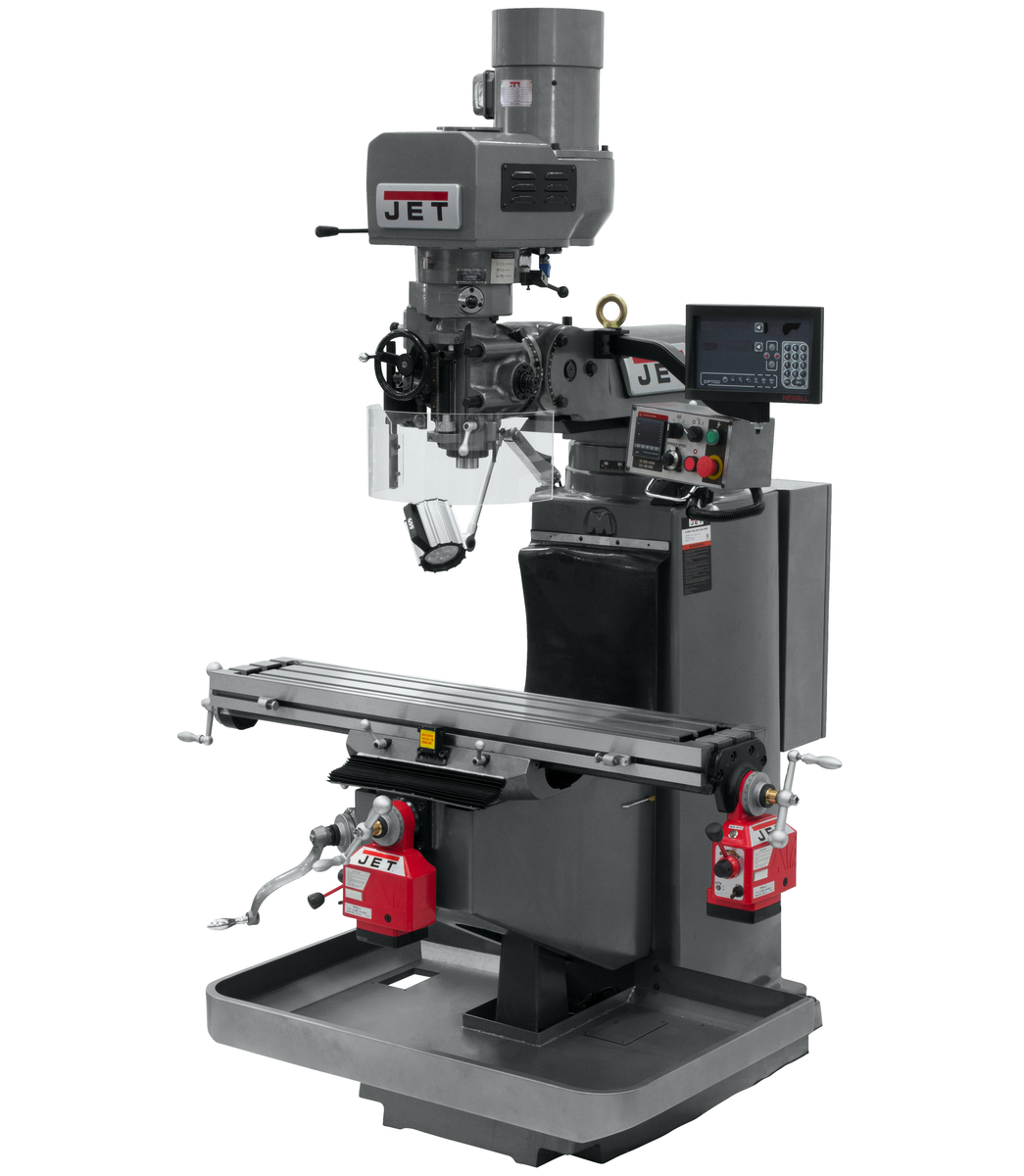 JTM-949EVS Mill With 3-Axis Newall DP700 DRO (Quill) With X and Y-Axis Powerfeeds
