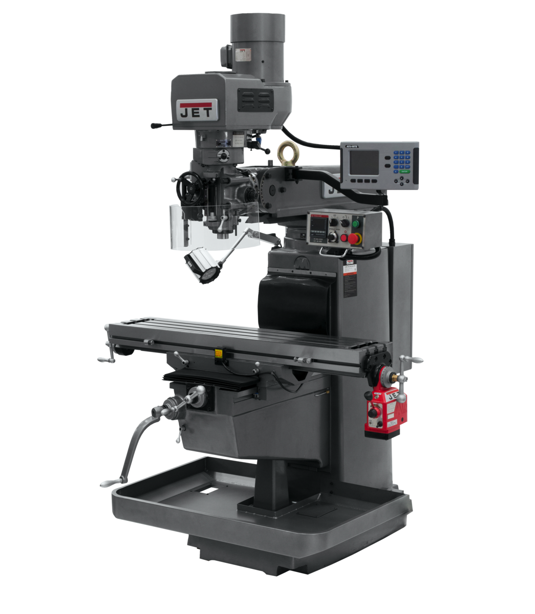 JTM-1050EVS2/230 Mill With 3-Axis Acu-Rite 203 DRO (Knee) With X-Axis Powerfeed