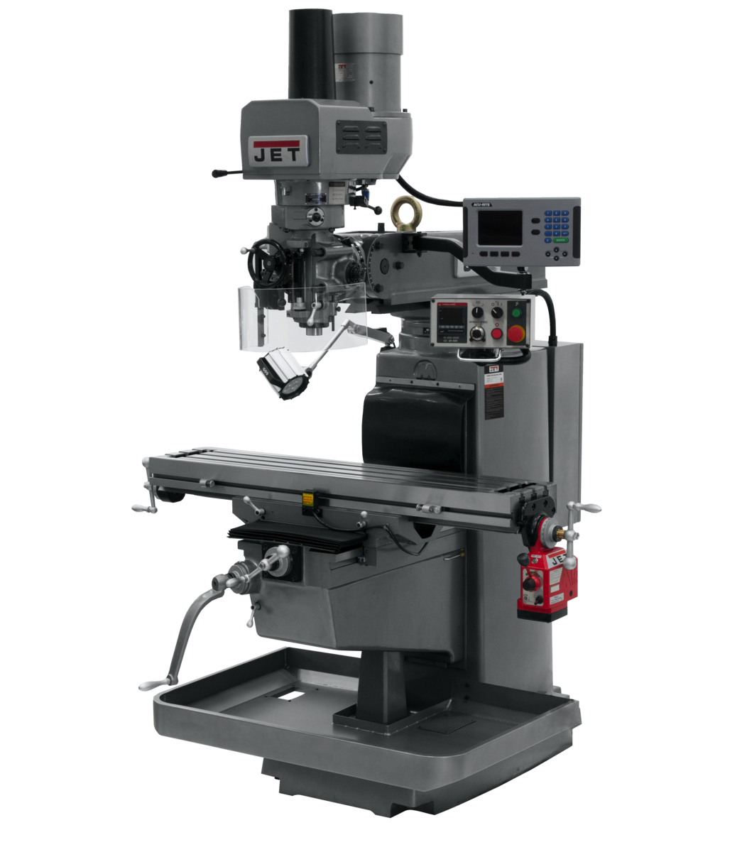 JTM-1050EVS2/230 Mill With 3-Axis Acu-Rite 203DRO (Quill) With X-Axis Powerfeed and Air Powered Draw Bar