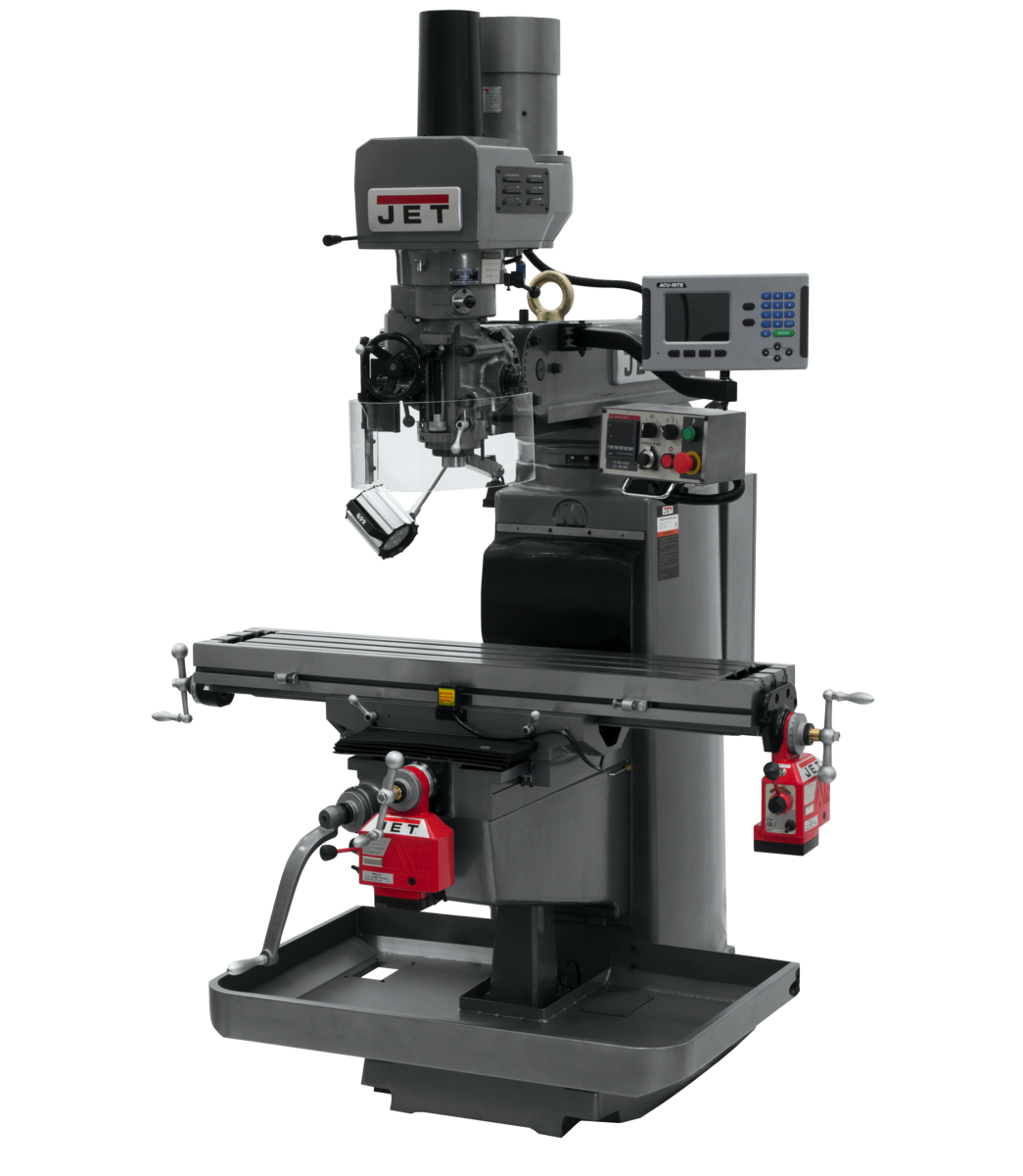 JTM-1050EVS2/230 Mill With 3-Axis Acu-Rite 203 DRO (Quill) With X and Y-Axis Powerfeeds and Air Powered Draw Bar